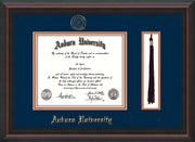 Image of Auburn University Diploma Frame - Mahogany Braid - w/Embossed Seal & Name - Tassel Holder - Navy on Orange mat