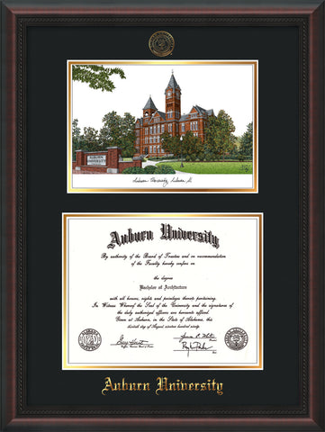 Image of Auburn University Diploma Frame - Mahogany Braid - w/Embossed Seal & Name - Campus Watercolor - Black on Gold mat