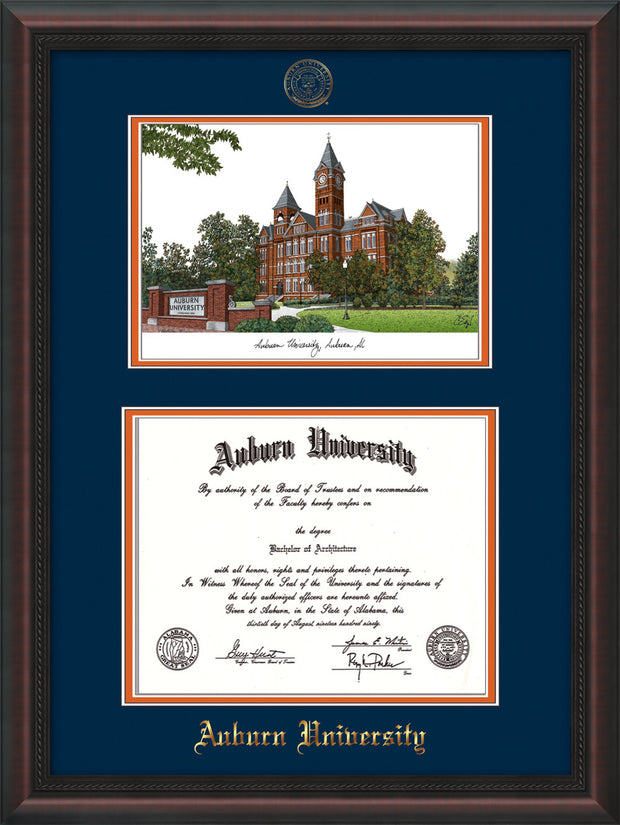 Image of Auburn University Diploma Frame - Mahogany Braid - w/Embossed Seal & Name - Campus Watercolor - Navy on Orange mat