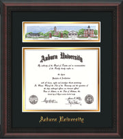 Image of Auburn University Diploma Frame - Mahogany Braid - w/Embossed School Name Only - Campus Collage - Black on Gold mat