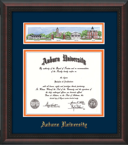 Image of Auburn University Diploma Frame - Mahogany Braid - w/Embossed School Name Only - Campus Collage - Navy on Orange mat