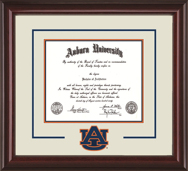 Image of Auburn University Diploma Frame - Mahogany Lacquer - w/Laser AU Logo Cutout - Cream on Navy on Orange mat