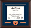 Image of Auburn University Diploma Frame - Mahogany Lacquer - w/Laser AU Logo Cutout - Navy on Orange mat