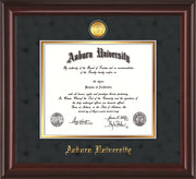 Image of Auburn University Diploma Frame - Mahogany Lacquer - w/24k Gold-plated Medallion - Black Suede on Gold mat