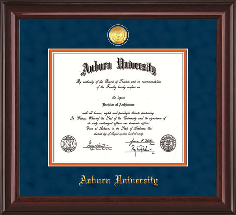 Image of Auburn University Diploma Frame - Mahogany Lacquer - w/24k Gold-plated Medallion - Navy Suede on Orange mat
