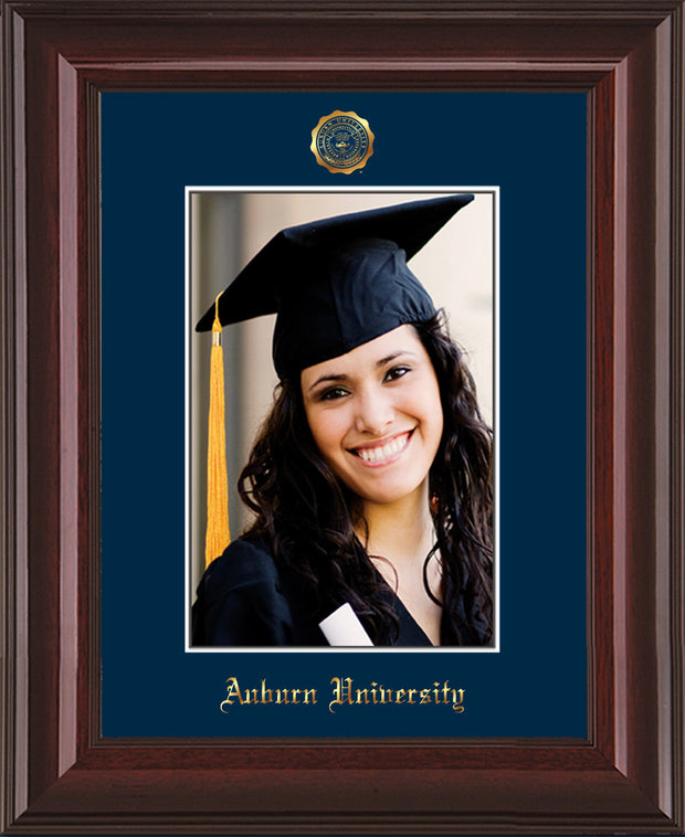 Image of Auburn University 5 x 7 Photo Frame  - Mahogany Lacquer - w/Official Embossing of AU Seal & Name - Single Navy mat