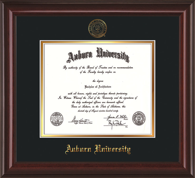 Image of Auburn University Diploma Frame - Mahogany Lacquer - w/Embossed Seal & Name - Black on Gold mat
