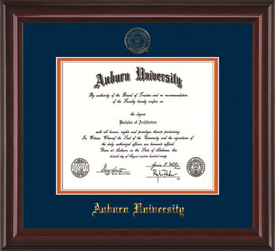 Image of Auburn University Diploma Frame - Mahogany Lacquer - w/Embossed Seal & Name - Navy on Orange mat