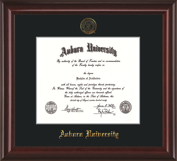 Image of Auburn University Diploma Frame - Mahogany Lacquer - w/Embossed Seal & Name - Single Black Mat