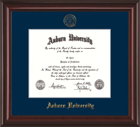 Image of Auburn University Diploma Frame - Mahogany Lacquer - w/Embossed Seal & Name - Single Navy Mat