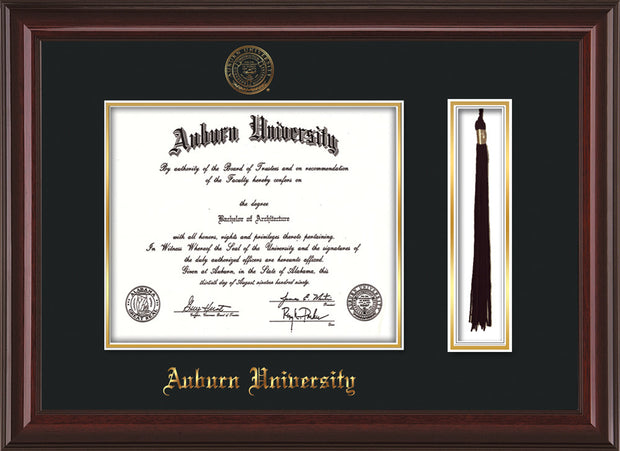 Image of Auburn University Diploma Frame - Mahogany Lacquer - w/Embossed Seal & Name - Tassel Holder - Black on Gold mat