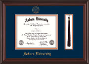 Image of Auburn University Diploma Frame - Mahogany Lacquer - w/Embossed Seal & Name - Tassel Holder - Navy on Orange mat