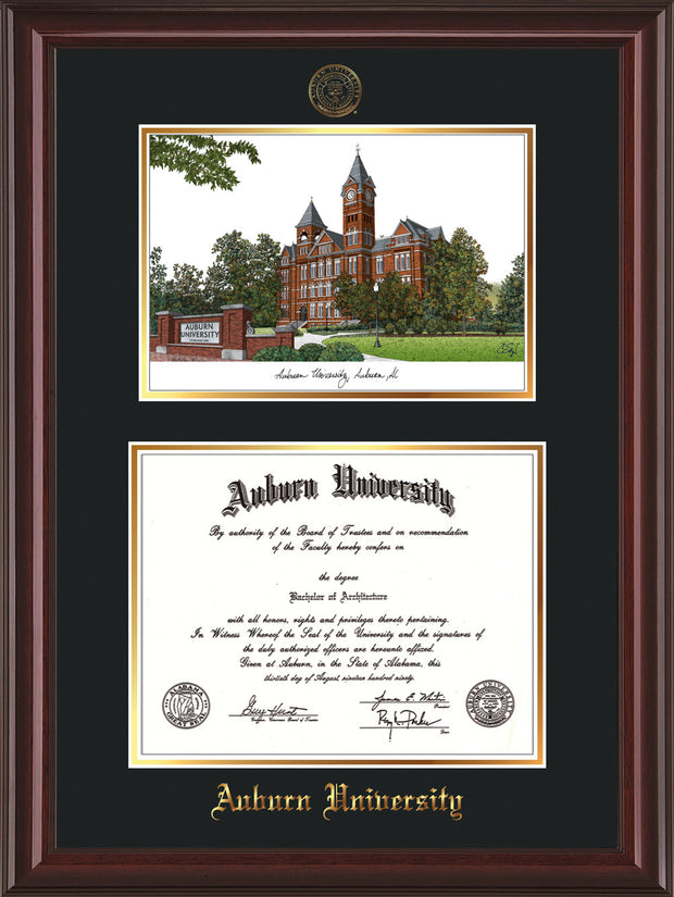 Image of Auburn University Diploma Frame - Mahogany Lacquer - w/Embossed Seal & Name - Campus Watercolor - Black on Gold mat