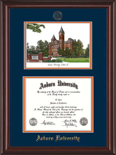 Image of Auburn University Diploma Frame - Mahogany Lacquer - w/Embossed Seal & Name - Campus Watercolor - Navy on Orange mat