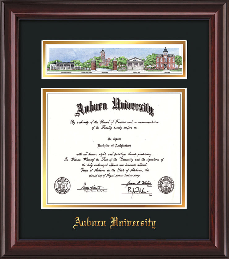Image of Auburn University Diploma Frame - Mahogany Lacquer - w/Embossed School Name Only - Campus Collage - Black on Gold mat