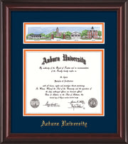 Image of Auburn University Diploma Frame - Mahogany Lacquer - w/Embossed Seal & Name - Campus Collage - Navy on Orange mat