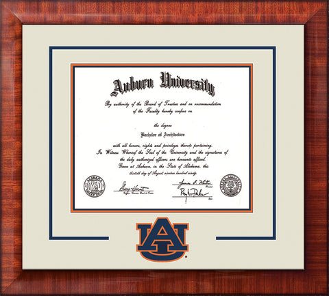 Image of Auburn University Diploma Frame - Mezzo Gloss - w/Laser AU Logo Cutout - Cream on Navy on Orange mat