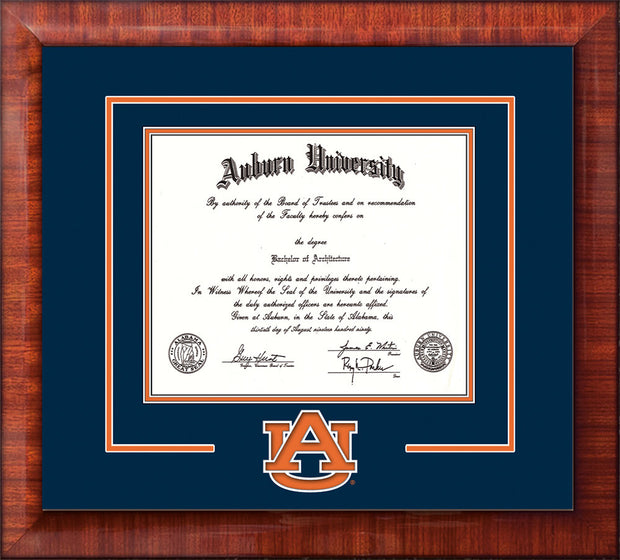 Image of Auburn University Diploma Frame - Mezzo Gloss - w/Laser AU Logo Cutout - Navy on Orange mat