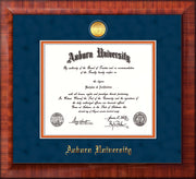 Image of Auburn University Diploma Frame - Mezzo Gloss - w/24k Gold-plated Medallion - Navy Suede on Orange mat