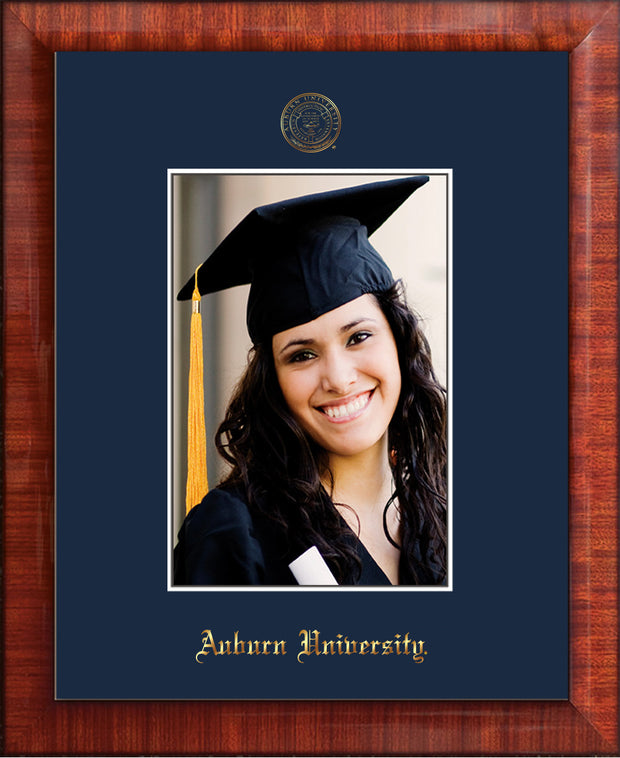 Image of Auburn University 5 x 7 Photo Frame  - Mezzo Gloss - w/Official Embossing of AU Seal & Name - Single Navy mat