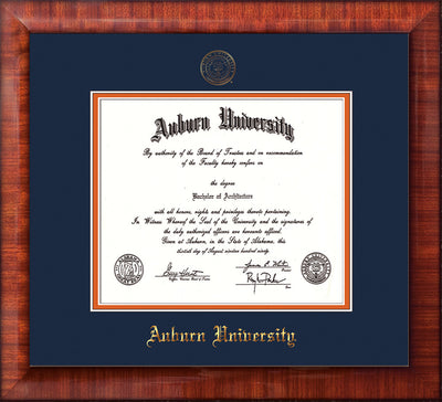 Image of Auburn University Diploma Frame - Mezzo Gloss - w/Embossed Seal & Name - Navy on Orange mat