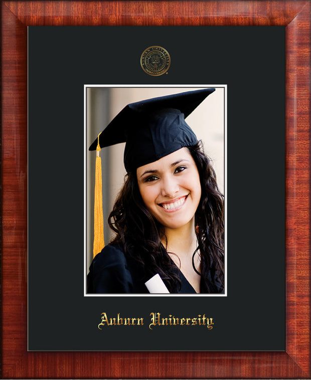 Image of Auburn University 5 x 7 Photo Frame  - Mezzo Gloss - w/Official Embossing of AU Seal & Name - Single Black mat