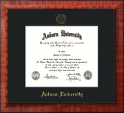 Image of Auburn University Diploma Frame - Mezzo Gloss - w/Embossed Seal & Name - Single Black Mat