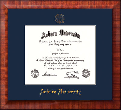 Image of Auburn University Diploma Frame - Mezzo Gloss - w/Embossed Seal & Name - Single Navy Mat