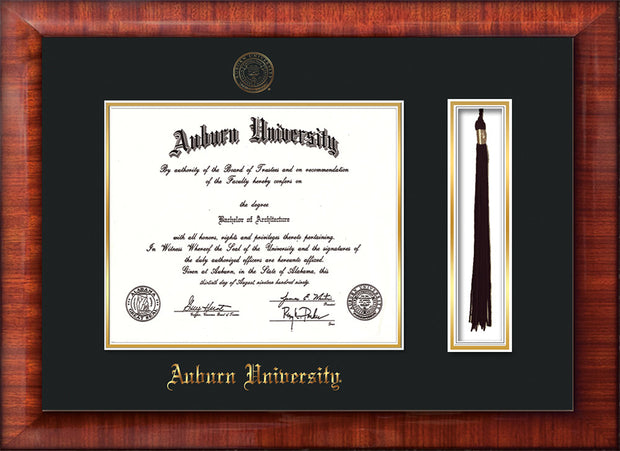 Image of Auburn University Diploma Frame - Mezzo Gloss - w/Embossed Seal & Name - Tassel Holder - Black on Gold mat