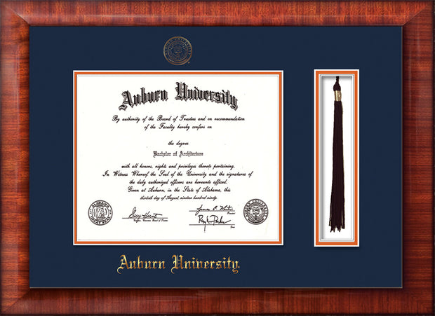 Image of Auburn University Diploma Frame - Mezzo Gloss - w/Embossed Seal & Name - Tassel Holder - Navy on Orange mat