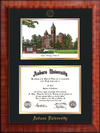 Image of Auburn University Diploma Frame - Mezzo Gloss - w/Embossed Seal & Name - Campus Watercolor - Black on Gold mat
