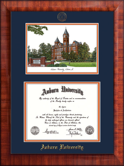 Image of Auburn University Diploma Frame - Mezzo Gloss - w/Embossed Seal & Name - Campus Watercolor - Navy on Orange mat