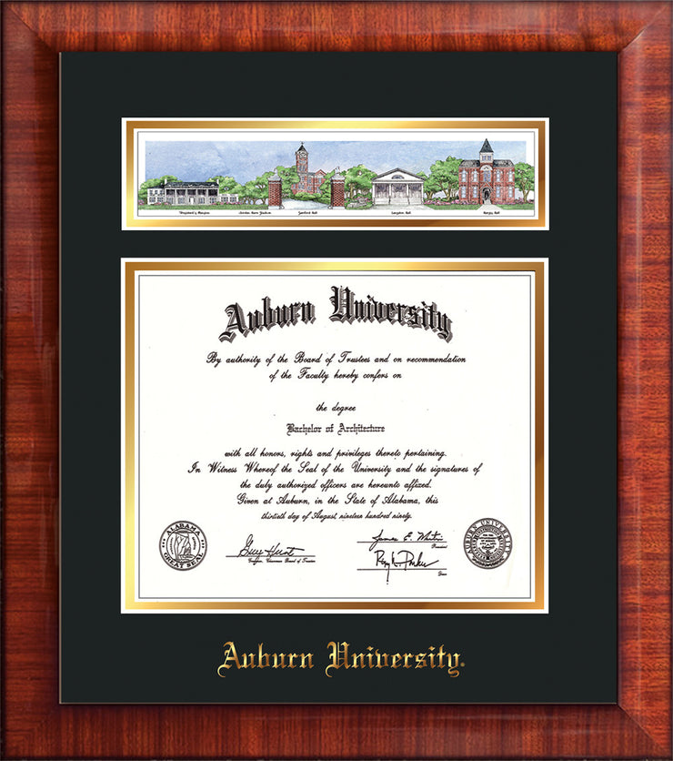 Image of Auburn University Diploma Frame - Mezzo Gloss - w/Embossed School Name Only - Campus Collage - Black on Gold mat
