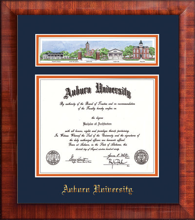 Image of Auburn University Diploma Frame - Mezzo Gloss - w/Embossed School Name Only - Campus Collage - Navy on Orange mat