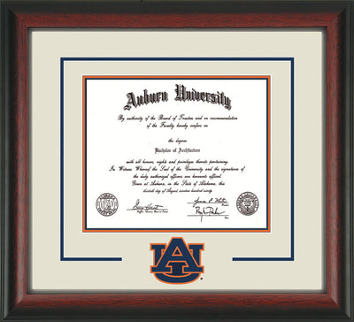 Image of Auburn University Diploma Frame - Rosewood - w/Laser AU Logo Cutout - Cream on Navy on Orange mat