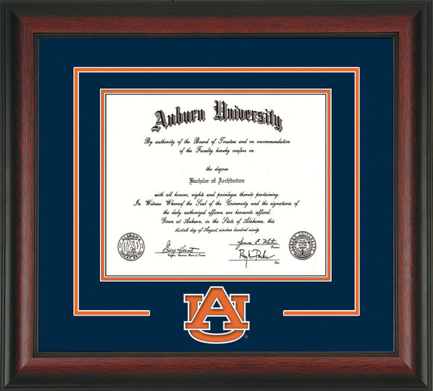 Image of Auburn University Diploma Frame - Rosewood - w/Laser AU Logo Cutout - Navy on Orange mat