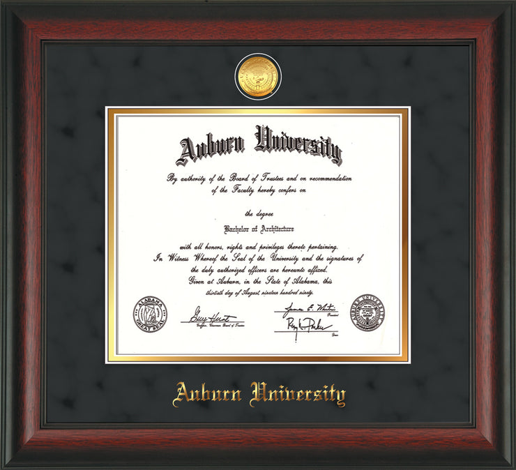 Image of Auburn University Diploma Frame - Rosewood - w/24k Gold-plated Medallion - Black Suede on Gold mat