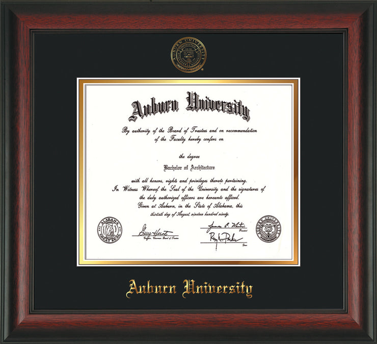 Image of Auburn University Diploma Frame - Rosewood - w/Embossed Seal & Name - Black on Gold mat
