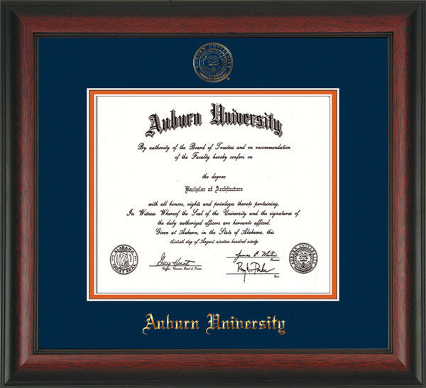 Image of Auburn University Diploma Frame - Rosewood - w/Embossed Seal & Name - Navy on Orange mat