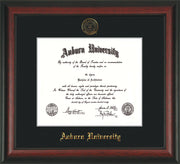 Image of Auburn University Diploma Frame - Rosewood - w/Embossed Seal & Name - Single Black Mat