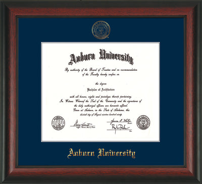 Image of Auburn University Diploma Frame - Rosewood - w/Embossed Seal & Name - Single Navy Mat