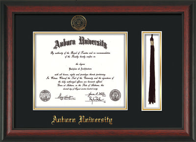 Image of Auburn University Diploma Frame - Rosewood - w/Embossed Seal & Name - Tassel Holder - Black on Gold mat