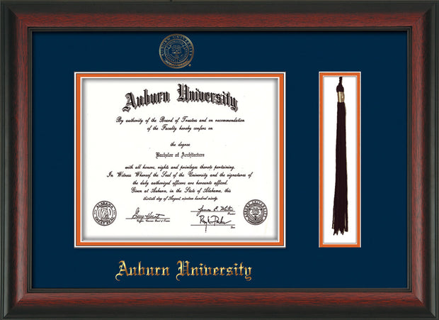 Image of Auburn University Diploma Frame - Rosewood - w/Embossed Seal & Name - Tassel Holder - Navy on Orange mat