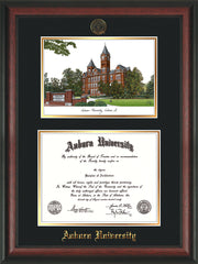 Image of Auburn University Diploma Frame - Rosewood - w/Embossed Seal & Name - Campus Watercolor - Black on Gold mat