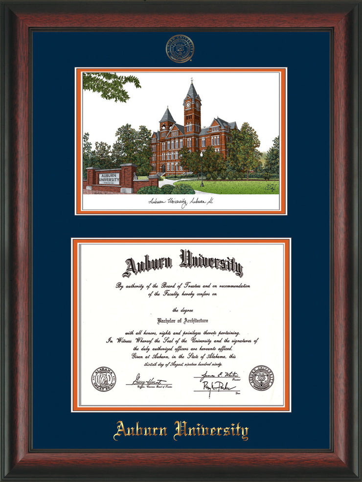Image of Auburn University Diploma Frame - Rosewood - w/Embossed Seal & Name - Campus Watercolor - Navy on Orange mat