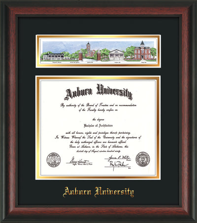 Image of Auburn University Diploma Frame - Rosewood - w/Embossed School Name Only - Campus Collage - Black on Gold mat