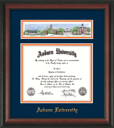 Image of Auburn University Diploma Frame - Rosewood - w/Embossed School Name Only - Campus Collage - Navy on Orange mat