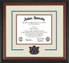 Image of Auburn University Diploma Frame - Rosewood w/Gold Lip - w/Laser AU Logo Cutout - Cream on Navy on Orange mat