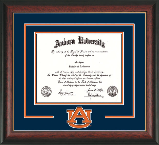Image of Auburn University Diploma Frame - Rosewood w/Gold Lip - w/Laser AU Logo Cutout - Navy on Orange mat