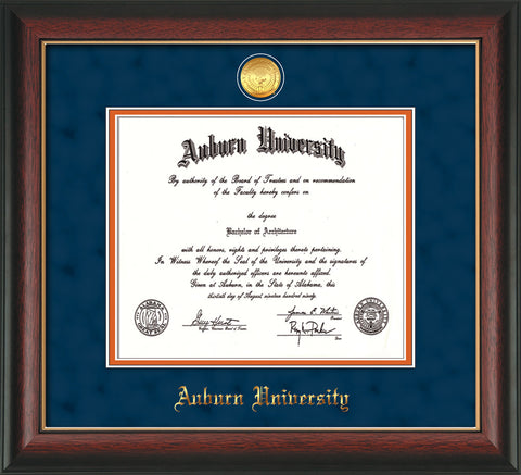 Image of Auburn University Diploma Frame - Rosewood w/Gold Lip - w/24k Gold-plated Medallion - Navy Suede on Orange mat